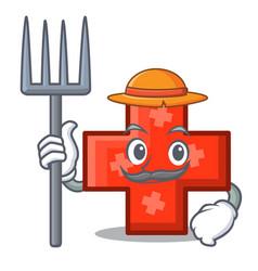 Farmer cross character cartoon style vector