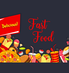 fast food menu cover with junk burger and drink vector image