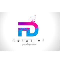 Fd f d letter logo with shattered broken blue vector