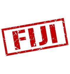 Fiji red square stamp vector