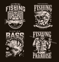 Fishing monochrome labels vector
