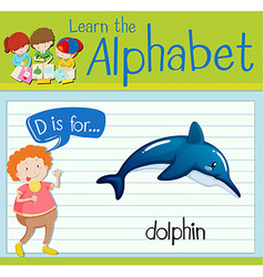 Flashcard letter D is for dolphin vector
