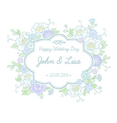 floral wedding label vector image