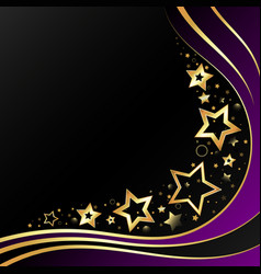 golden lines waves and stars on black background vector image