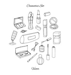 Hand drawn cosmetics set with parfume bottles vector