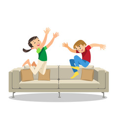 Happy boy and girl jumping on sofa cartoon vector