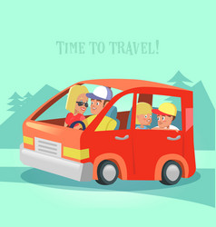 happy family traveling by car time to travel vector image