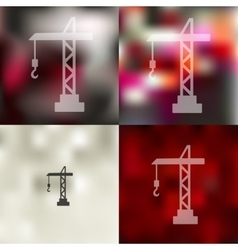 Hoisting crane icon on blurred background vector