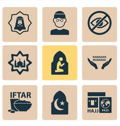 Holiday icons set with mullah hajj holiday and vector