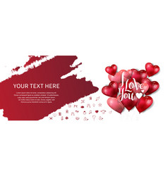 I love you design with heart balloon red brush vector