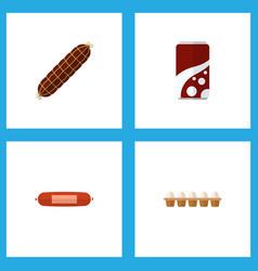 icon flat food set of soda bratwurst egg and vector image