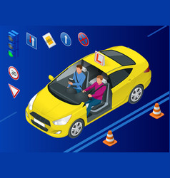 isometric driving school concept driving vector image