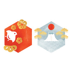 japanese pattern and icon new year card design vector image