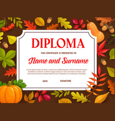 kids diploma certificate with autumn leaves vector image
