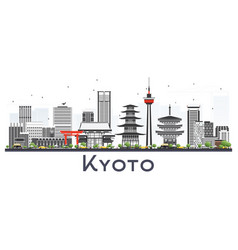 Kyoto japan city skyline with gray buildings vector