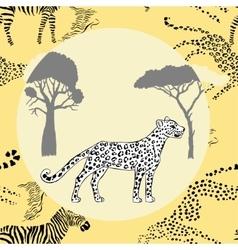Leopard between savanna trees vector image vector image