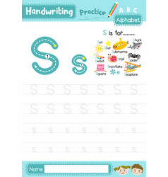 Letter s uppercase and lowercase tracing practice vector