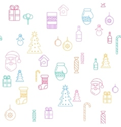 line christmas icons seamless background vector image