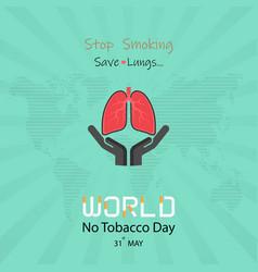 Lung cute cartoon character and stop smoking amp vector