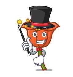 Magicianmagician poppy flower mascot cartoon vector