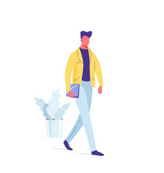 man walk with laptop in his hand vector image