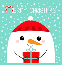 merry christmas snowman head face holding gift vector image