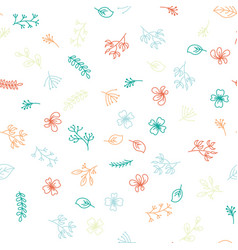 multicolor hand drawing floral pattern on white vector image