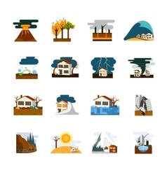 Natural Disaster Flat Icons Set vector