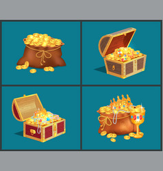 old bags and wooden chests full of treasures set vector image