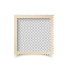 Old square photo frame with ornamental edge retro vector