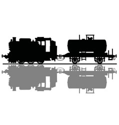 old steam locomotive and tank wagon vector image