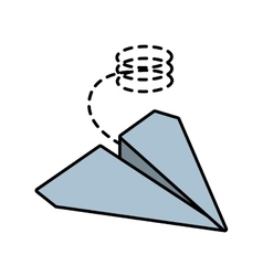 Paper plane origami funny line dotted vector