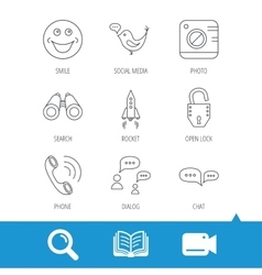 Phone call chat speech bubble and photo icons vector image