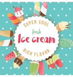 Poster design with colorful glossy ice cream vector image