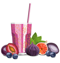 Purple color blended smoothie in a glass with vector