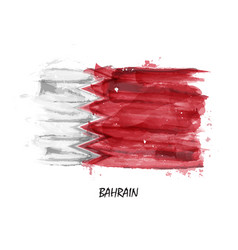 Realistic watercolor painting flag of bahrain vector
