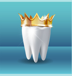 Realistic white tooth in golden crown on blue vector