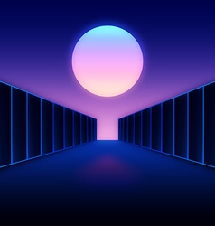 Retro futuristic digital landscape with moon and vector