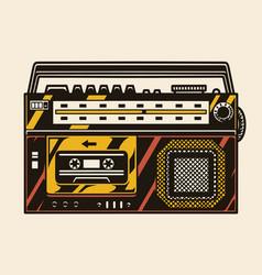 Retro radio cassette recorder colorful template vector