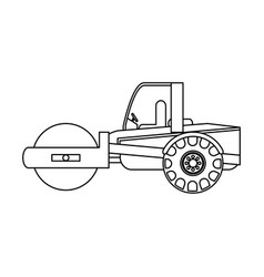 Road roller construction heavy machinery icon vector