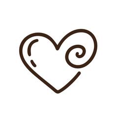 Romantic calligraphy monoline heart love vector
