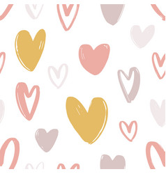 Romantic seamless pattern with cute stylized hand vector