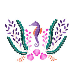 Seahorse seaweed and shell embroidery pattern vector