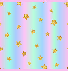 seamless pattern with gold stars on holographic vector image