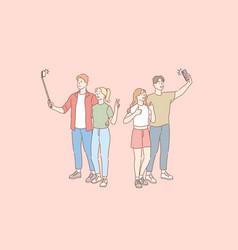 Selfie blog social network couple concept vector