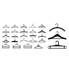 set clothes hangers or clothes hangers isolated vector image