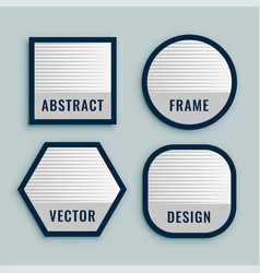 set geometric labels in bold lines vector image