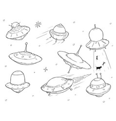 Set of cartoon alien ufo space ships vector