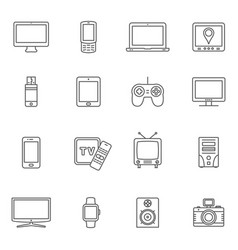 Set of digital devices and technology gadgets vector