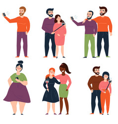 set of young people and fashion couples making vector image